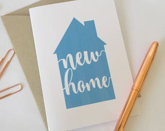 new home blue house greeting card