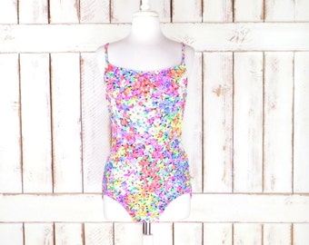 Vintage colorful floral one piece swimsuit/full coverage bathing suit/red/pink/green swimsuit/large/16