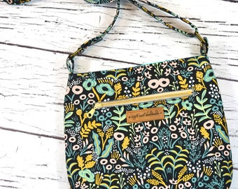 Rifle Paper Co Menagerie Cross Body Bag with Adjustable Strap/ Small Purse/ Lightweight Purse/ Trail Tote
