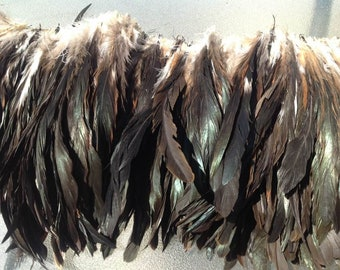 """Natural Iridescent Black Rooster Tail Feathers. 3"""" Pack of 8"""" - 10"""" long/length. You will receive a 3"""" strung of feathers."""