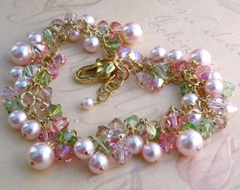 Spring Bracelet, Pink Pearl Bracelet, Pink Swarovski Pearl Peridot Crystals Gold, Mother of the Bride Cluster, Apple Blossom Wedding Jewelry