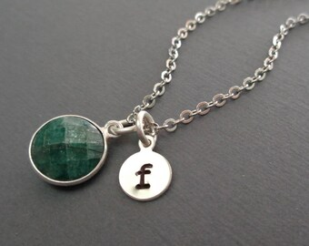 Emerald Necklace Silver Initial/May Birthstone Custom Initial Necklace/Natural Emerald /20th Anniversary/Gemstone Necklace May//BE39