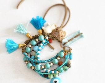 Multi Strand Gypsy Bracelet,  Bohemian Gemstone Bracelet,  Hippie Charmed Bracelet,  Boho Beaded Tassel Bracelet