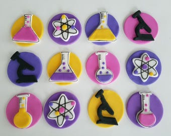 12 Fondant cupcake toppers--science, microscope, beakers and Bohr atomic model