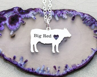 Steer Necklace • Cattle Jewelry Personalized Pet Cow Jewelry • Farm Animal Lover Gift Show Steer Livestock Dairy Cow Gift • Farm Cow