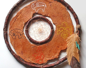 Dreamcatcher Medicine Wheel: faux leather, faux wood, faux feather, polymer art wall hanging, eagle, bison, bear, wolf, 4 directions