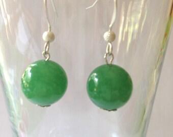 10 MM Green Jade Dangle Earrings