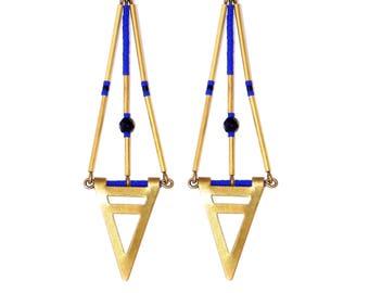Miyuki cobalt blue and black agate Egypt Earrings by Madame Arlette