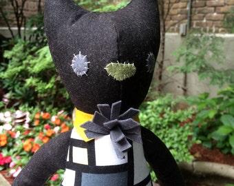 Plush Cat / Soft Doll / Stuffed Animal / Lillith the Cat / Art Doll / Toy / Handmade Softie