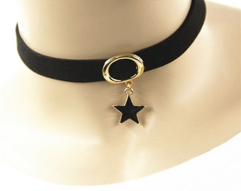 Handmade Black Choker ,Plain Black Velvet Choker ,Gold Star Pendant Choker, Handmade Jewelry Collar For Women