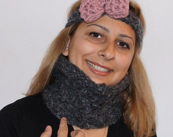 Sale 50%: Chunky Knit Cowl in charcoal grey