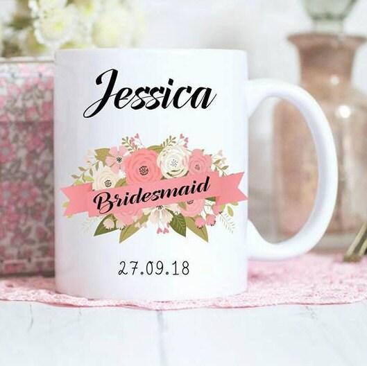 Wedding Gift Mugs: Bridesmaid Mug, Personalised Gift, Bridal Party Gifts