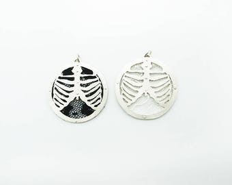 My Skeleton--Sterling Silver RibcagePendant with French Lace Safety Pin / Necklace