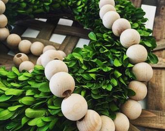 Wood Bead Garland, Natural Wood Garland, Bead Garland Strand, Decorative Garland, Farmhouse bead garland, Wood Beads, Magnolia, Beads, Wood