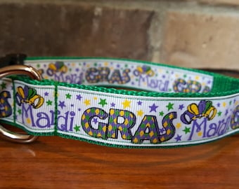 Mardi Gras Dog Collar - Large