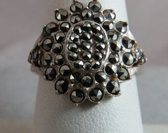 Vintage Marcasite Sterling Silver Ring Size 7