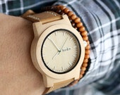 Mens Watch With Leather Strap, Wood Watch For Men, Maple Wood Mens Watch - KNTY-L