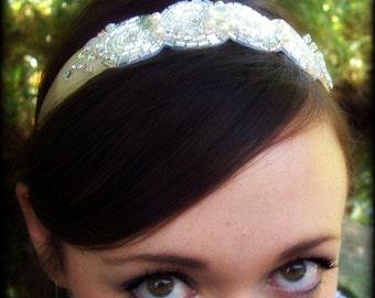 Bridal Rhinestone Ribbon Hair Band Retro Bling for your hair