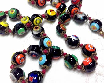 Art Glass Beads Broken Jewelry Necklace 16 in: Repair, Restring, Jewelry, Italy, Black Turquoise Yellow Crafting Boho Beads, 9.50 Ship to US
