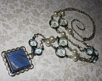 Blue Heaven Tile and Glass Necklace
