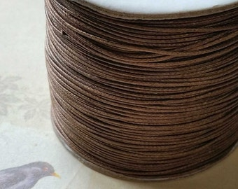 0.8 mm Light Brown Color Korean Waxed Cotton Cord (.thg)