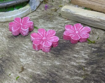 Three Pink Flower Stepping Stone Miniatures for Fairy Garden or Dollhouse Fun