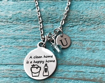 A clean home, is a happy home, Maid Service, Housemaid, Cleaner, OCD, Housekeeper, Home, Laundry Service, Charm Necklace, Silver Necklace