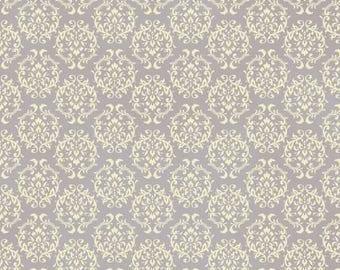 Ruru Bouquet Love Rose Love Cotton Fabric Rose ru2300-17d Damask Pattern White on Purple