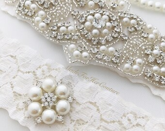 Ivory Wedding Garter, Ivory wedding garter belt, Ivory bridal garter, Ivory bridal garter belt, Ivory Garter set, Ivory Garter Belt, Garters
