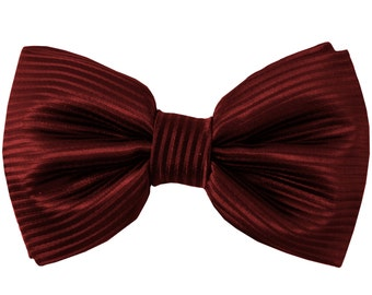 Men's Horizontal Striped Burgundy Pre-Tied Bowtie, for Formal Occasions (2010)
