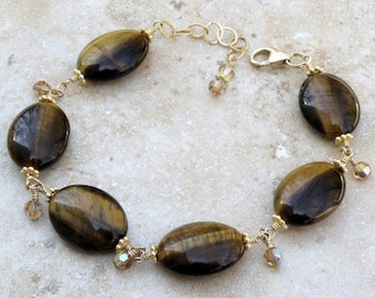 Tigers Eye Bracelet, Gold Filled, Autumn Bracelet, Chocolate Brown Mocha Oval Stone Casual Jewelry, Handmade Gift