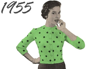 Knitted Cardigan Pattern 1950s Cardigan Polka Dot Sweater PDF INSTANT DOWNLOAD Vintage Sweater Pattern Vintage Knitting Pattern 50s Sweater
