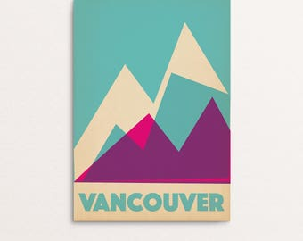 Vancouver Mountains - Graphic Design Geometric Modern style vintage art print poster