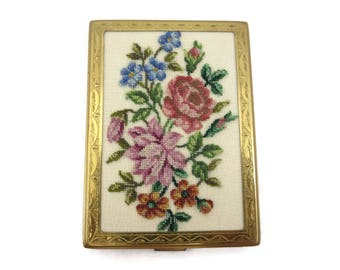 Petit Point Compact - Vintage Floral Embroidered Powder Compact