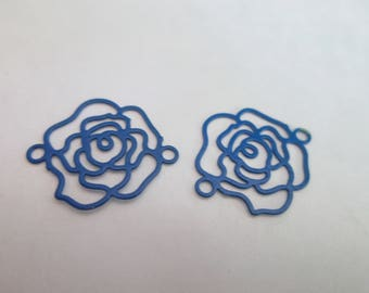 2 flower prints / connector filigree blue 15 x 13 mm