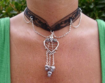 Gothic black choker with silver heart pendant and skulls