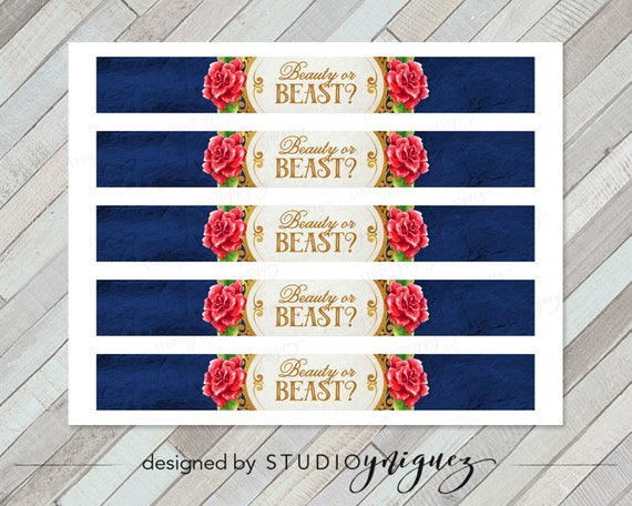 Beauty And The Beast Printable Water Bottle Labels Beauty Or - Avery water bottle label template