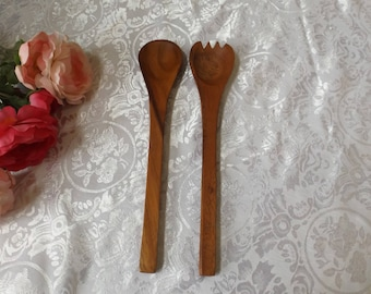 "Wooden serving or salad Spoon and Fork Set. Brown color. Gift idea. new old stock They are 12""L, and 2 3/8""W."