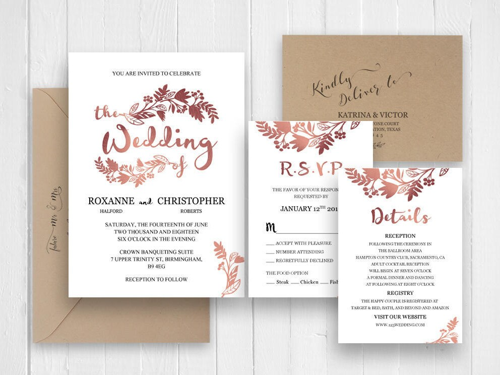Elegant rose gold wedding invitation set Invitations Announcement