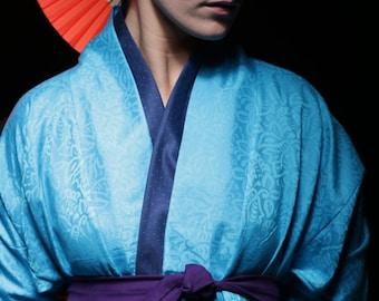 Women Kimono; Designer Kimono; MInt Blue Kimono; Women Top; Brocade Kimono; Turquoise Kimono Top