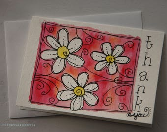 Hand Drawn Watercolor Daisy Thank You Card