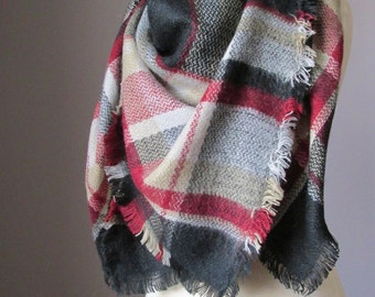 Black scarf, Tartan scarf, plaid scarf, blanket scarf, oversized winter scarf