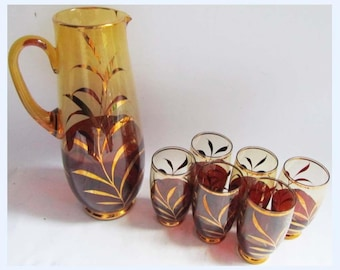 Vintage Italian Glass Pitcher Jug & 6 Glass's Amber / Gold / Red 50 - 70's