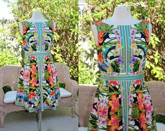 1990's Tropical floral Sun Dress Multi Colored White Size 10 Vintage Retro 90's Islands Hawaiian Summer