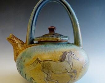 Lg Teapot- Arabian Horses & Oak Trees