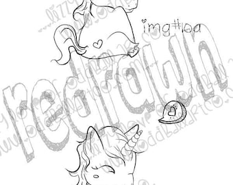 INSTANT DOWNLOAD Big Eye / Sleeping Unicorn Digital Stamp - Unicorn Image No. 10 a & b by Lizzy Love