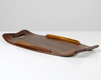 Teak serving tray, Mid Century teak tray, wooden tray, Danish design tray, Mid Century design