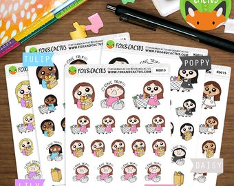 Grocery Shopping Kawaii Girls - Groceries Food Shopping Meal Cooking - Planner Stickers (K0015)