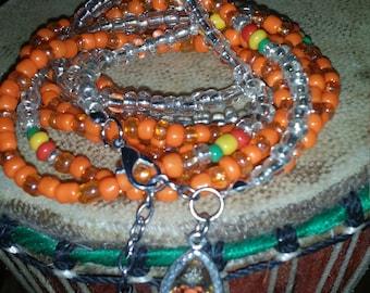 "RastaFari 49"" African Waist Beads in Orange and Silver Seed Beads"