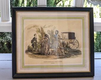 """French Fashion Print Framed Fashion Print Godey's Fashions 11"""" by 14"""""""